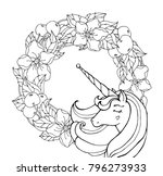 unicorn and flowers. magical... | Shutterstock .eps vector #796273933