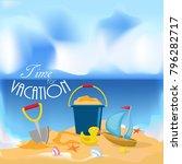 summer time flat design. vector.... | Shutterstock .eps vector #796282717