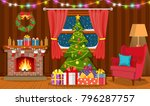 christmas interior of the... | Shutterstock . vector #796287757