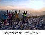 happy friends  travelers  with... | Shutterstock . vector #796289773
