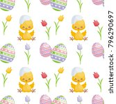 easter seamless pattern with... | Shutterstock .eps vector #796290697