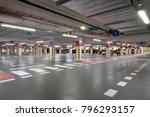 modern underground garage  red... | Shutterstock . vector #796293157