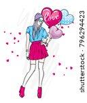 a tall  slender girl in stylish ... | Shutterstock .eps vector #796294423