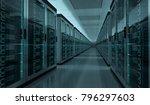 dark server room data center...   Shutterstock . vector #796297603
