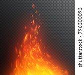 flying fiery sparks. burning... | Shutterstock .eps vector #796300093