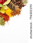 the spices on the white... | Shutterstock . vector #796302193