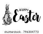 hand drawn bunny with easter... | Shutterstock .eps vector #796304773