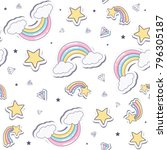 baby seamless pattern with ... | Shutterstock .eps vector #796305187