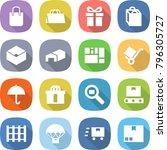 flat vector icon set   shopping ... | Shutterstock .eps vector #796305727