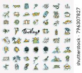 travel hand draw icons. icon... | Shutterstock .eps vector #796307827