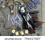 scary doll in black witch dress ... | Shutterstock . vector #796317007