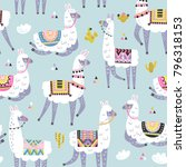 seamless pattern with llama ... | Shutterstock .eps vector #796318153