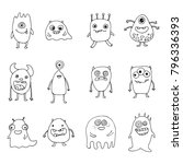 set of hand drawn monsters | Shutterstock .eps vector #796336393