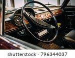 view of steering wheel inside... | Shutterstock . vector #796344037