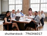 black businesswoman and team at ... | Shutterstock . vector #796346017