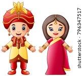 cartoon indian couple wearing...   Shutterstock .eps vector #796347517