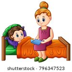 cartoon mother reading bedtime... | Shutterstock .eps vector #796347523