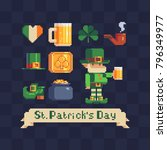 st. patrick's day symbols icons ... | Shutterstock .eps vector #796349977