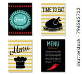 menu template set. hand drawn.  ... | Shutterstock .eps vector #796363723