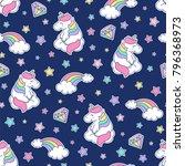 cute pastel unicorn  rainbow ... | Shutterstock .eps vector #796368973