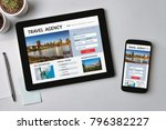 travel agency concept on tablet ... | Shutterstock . vector #796382227