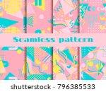 memphis seamless pattern set.... | Shutterstock .eps vector #796385533
