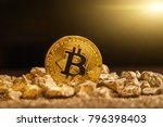 bitcoin over mound of gold ... | Shutterstock . vector #796398403