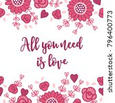 valentine greeting card with...   Shutterstock .eps vector #796400773