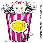 popcorn box with cute cat | Shutterstock .eps vector #796405393