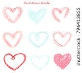vector set of hand drawn pastel ... | Shutterstock .eps vector #796413823