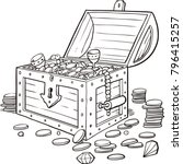 opened wooden chest with... | Shutterstock .eps vector #796415257