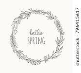 hand drawn wreath vector... | Shutterstock .eps vector #796415617