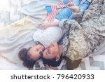 sleep well. cute tired young... | Shutterstock . vector #796420933