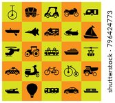 transport icon set vector. boat ... | Shutterstock .eps vector #796424773