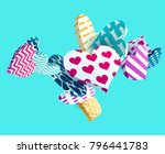 3d colorful hearts. abstract...   Shutterstock .eps vector #796441783