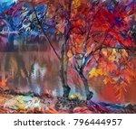 Bright Art  Autumn Trees At Th...
