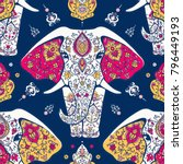 pattern with mandala and... | Shutterstock .eps vector #796449193