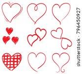 hearts set doodle style | Shutterstock .eps vector #796450927