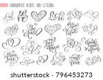 big set hand written lettering...   Shutterstock .eps vector #796453273