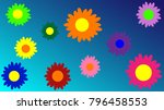 a set of colorful spring or... | Shutterstock .eps vector #796458553