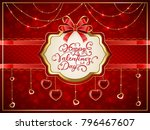 valentines card with golden... | Shutterstock .eps vector #796467607