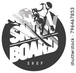 freeride snowboarder in motion. ... | Shutterstock .eps vector #796467853