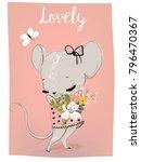 cute summer mouse girl | Shutterstock .eps vector #796470367