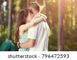 young couple in love hugging on ... | Shutterstock . vector #796472593