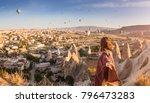 a woman travels through...   Shutterstock . vector #796473283