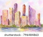 watercolor metropolis  city at...   Shutterstock . vector #796484863