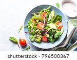 fresh green salad with mixed... | Shutterstock . vector #796500367