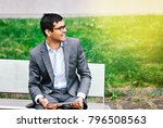 indian businessman with tablet... | Shutterstock . vector #796508563