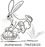 cartoon easter bunny jumping... | Shutterstock .eps vector #796518133