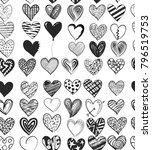 pattern of illustrated hearts ... | Shutterstock . vector #796519753